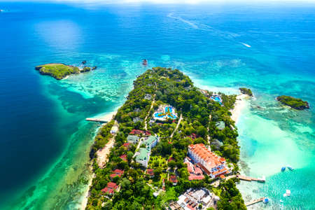 Aerial drone view of the beautiful small island of Atlantic Ocean. Cayo Levantado island, Samana, Dominican Republic. Фото со стока