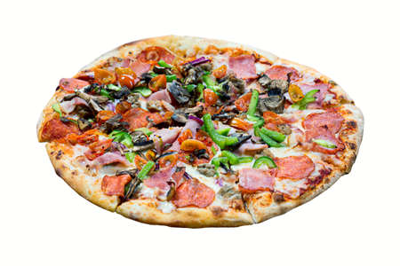 Italian pizza with bacon, cheese, cherry tomatoes, mushrooms, onion, garlic and paprika isolated on white background.