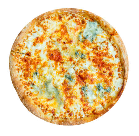 Quattro formaggi italian pizza with four sorts of cheese isolated on white background. Mozzarella, blue cheese, chedder, parmesan. Top view.