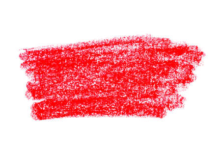 Colorful red oil pastel chalk painted strokes or smear isolated on white background.
