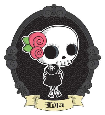 Lola Grim - Cute Skull Girl Vector