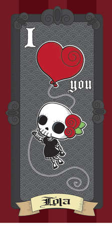 tattoo girl: Lola Grim - Cute Skull Girl - I Love You