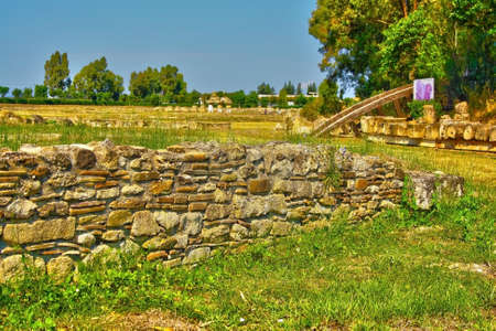 remains of walls in the ancient city of metaponto Stock Photo