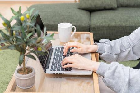 Women operating laptops