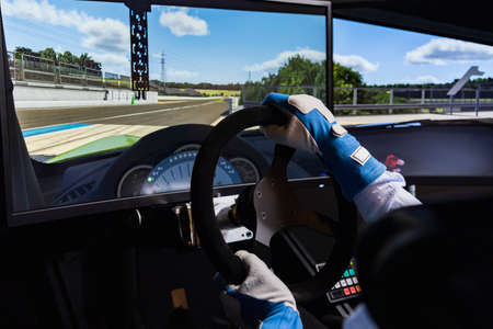 Driving a car in a driving simulator