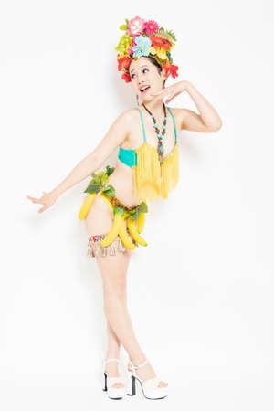 Burlesque dancer making a pose shot in the studio Banque d'images