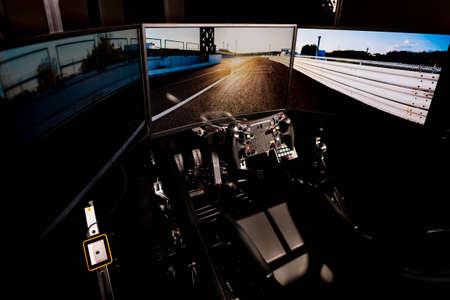 Driving simulator shot in the studio Foto de archivo