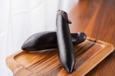 Fresh eggplant photographed in the studio