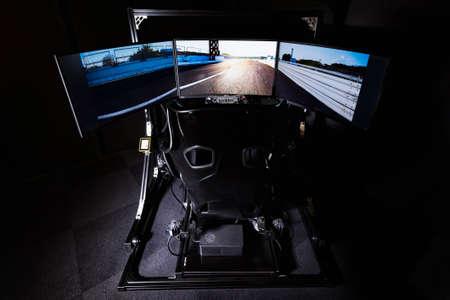 Driving simulator shot in the studio