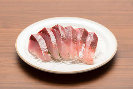 Japanese yellowtail sashimi taken in the studio
