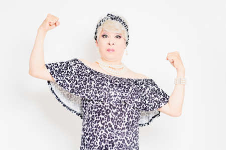Angry drag queen standing in front of white background