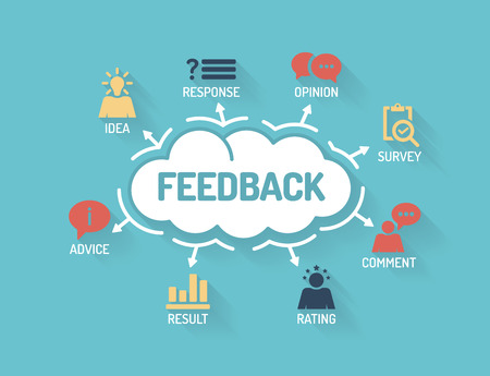 marketing: Feedback. Chart with keywords and icons. Flat Design