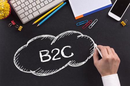 b2c: B2C written on Chalkboard Stock Photo