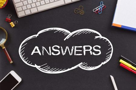 warranty questions: ANSWERS written on Chalkboard Stock Photo