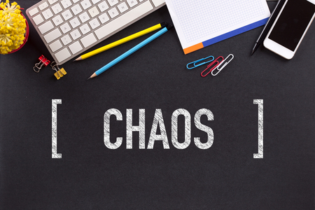chaos: CHAOS CONCEPT ON BLACKBOARD Stock Photo