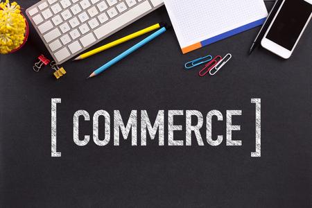 commerce: COMMERCE CONCEPT ON BLACKBOARD Stock Photo