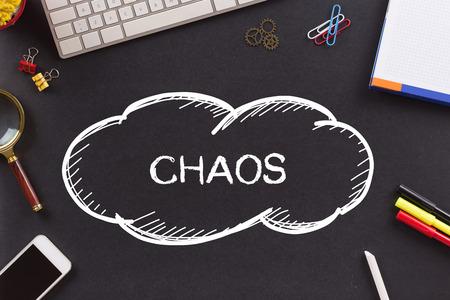 wire mess: CHAOS written on Chalkboard