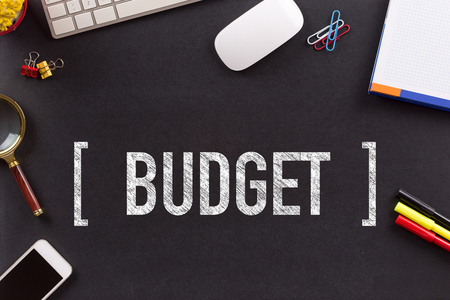 deficit target: BUDGET CONCEPT ON BLACKBOARD Stock Photo