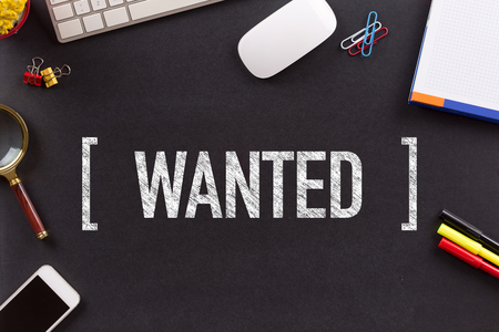 unemployment: WANTED CONCEPT ON BLACKBOARD