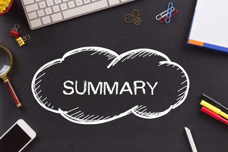 summary: SUMMARY written on Chalkboard Stock Photo