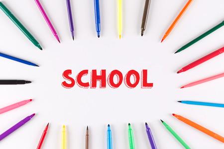 multi colored: EDUCATION CONCEPT: Multi Colored Pen written SCHOOL