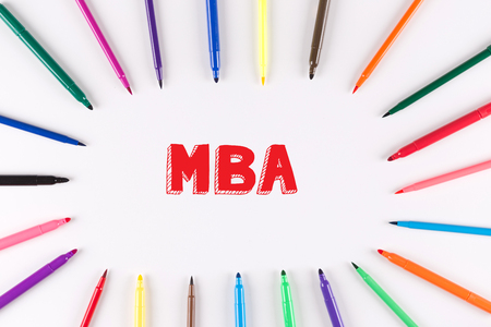 mba: EDUCATION CONCEPT: Multi Colored Pen written MBA