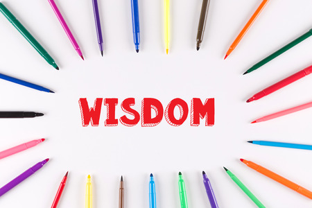 multi colored: EDUCATION CONCEPT: Multi Colored Pen written WISDOM Stock Photo