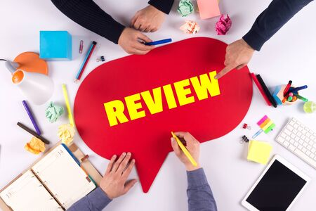 review: TEAMWORK BUSINESS BRAINSTORM REVIEW CONCEPT Stock Photo