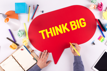 overachieving: BUSINESS OFFICE ANNOUNCEMENT COMMUNICATION THINK BIG CONCEPT Stock Photo