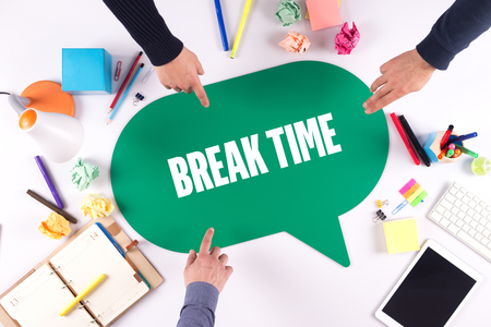 over worked: TEAMWORK BUSINESS BRAINSTORM BREAK TIME CONCEPT Stock Photo