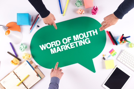 word: TEAMWORK BUSINESS BRAINSTORM WORD OF MOUTH MARKETING CONCEPT