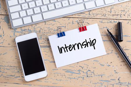 internship: Paper note with text Internship