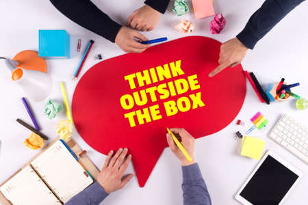 expressing artistic vision: TEAMWORK BUSINESS BRAINSTORM THINK OUTSIDE THE BOX CONCEPT