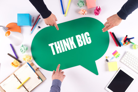 overachieving: TEAMWORK BUSINESS BRAINSTORM THINK BIG CONCEPT Stock Photo