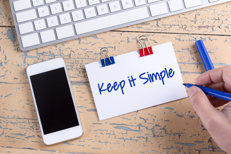 cogent: Paper note with text Keep it Simple Stock Photo