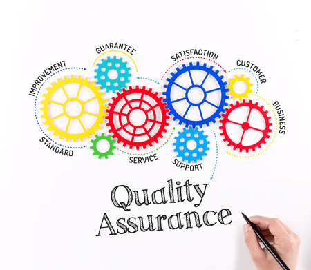 Gears and Quality Assurance Mechanism Stock Photo
