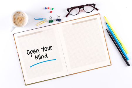 receptive: Open Your Mind text on notebook with copy space Stock Photo