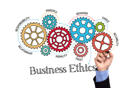 Gears and Business Ethics Mechanism on Whiteboard Stock Photo