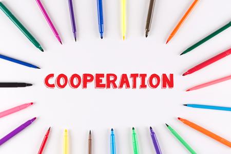 multi colored: EDUCATION CONCEPT: Multi Colored Pen written COOPERATION Stock Photo