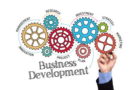 Gears et mécanisme de développement des affaires sur tableau blanc Banque d'images