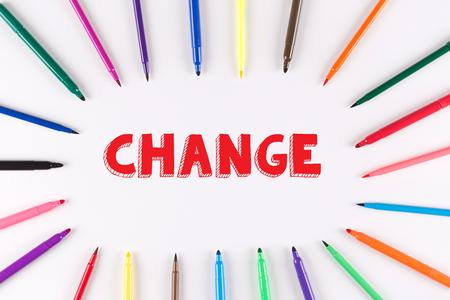 multi colored: Multi Colored Pen written CHANGE Stock Photo