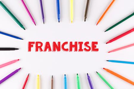 multi colored: Multi Colored Pen written FRANCHISE