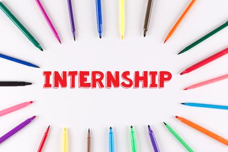 internship: Multi Colored Pen written INTERNSHIP