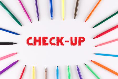 multi colored: Multi Colored Pen written CHECK-UP
