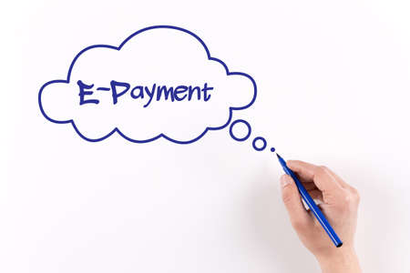 epayment: Hand writing E-Payment on white paper, View from above Stock Photo