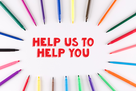multi colored: Multi Colored Pen written HELP US TO HELP YOU
