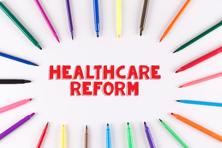 multi colored: Multi Colored Pen written HEALTHCARE REFORM