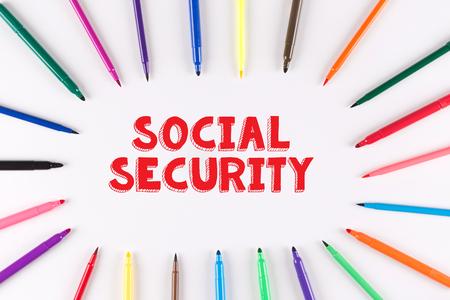multi colored: Multi Colored Pen written SOCIAL SECURITY