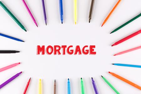 multi colored: Multi Colored Pen written MORTGAGE Stock Photo