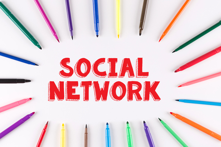 multi colored: Multi Colored Pen written SOCIAL NETWORK